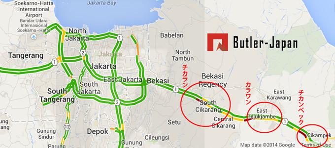 ジャカルタ工業団地地図