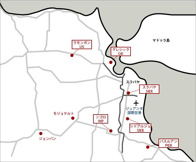 スラバヤ周辺工業団地マップ