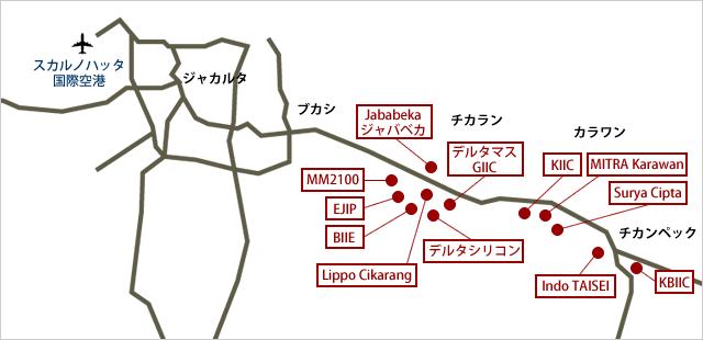 ジャカルタ工業団地マップ