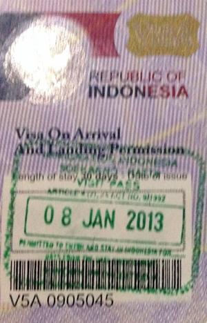 インドネシア到着ビザ(VOA:Visa Upon Arrival)